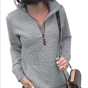 NWOT cute grey pullover (half-zip)